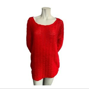 Red Coral Red Light Textured Sweater Size XL